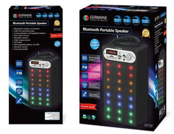 בידורית רמקול נייד סטריו Bluetooth ,קריוקי +  2 מיקרופונים , נטען משולב נגן MP3/USB/SD/MP4/PC וטלפונים ניידים FM + רדיו (!). GERMAINE Music Box