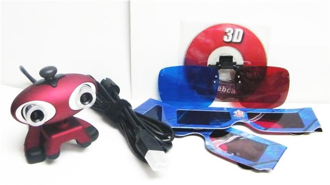 מצלמת אינטרנט תלת מימד , כוללת4 זוגות משקפי תלת מימד (2זוגות פלסטיק ו2 זוגות נייר)
