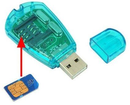 קורא כרטיסים SIM טלפוני עם פקק USB 2