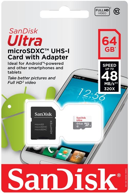 כרטיס זיכרון מיקרו  Full HD 48MB/s Class 10 SDXC 64Gb SanDisk Ultra