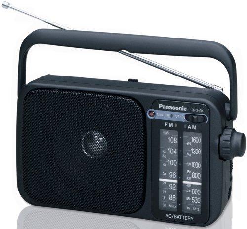 רדיו - טרנזיסטור גדול AM/FM חשמלי וסוללות , עם תחנות קבועות Panasonic RF-2400