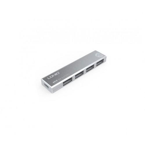 מפצל USB 2.0 עם 4 כניסות דק מעוצב ממתכת