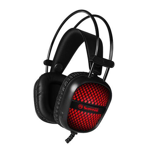 אוזניות מחשב לגיימרים ( למסחקי מחשב ) עם מיקרופון USB+3.5mm  HG8941 MARVO  - Scorpion Unicorn stereo HI-Fi + תאורה לד