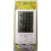 Внешний и внутренний термометр и гигрометр  с часами