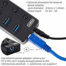 רכזת עבור 8 יציאות USB 3.0 עם יציאה נפרדת 2.1 A עבור טעינה של טבליות ו breakers עבור כל יציאה.  5Gbps Superspeed . Dynamode USB-HB-8P