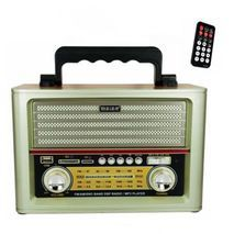 Transistor receiver with USB-input, memory card, MP3, Bluetooth. Powered by electricity, internal batteries and conventional batteries Kemai MD-1705BT