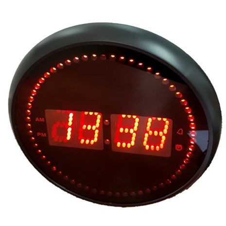 Large Digital Wall Clock With With rotating red dots