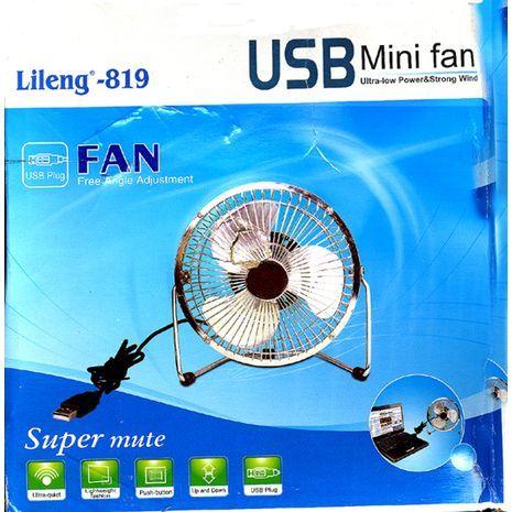 מאוורר שולחני Lileng-819, עיסוי ממתכת ,שקט ,חיבור USB