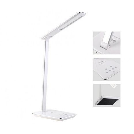Foldable LED table lamp with eye protection, adjustable brightness and color, with Qi wireless charger and USB output NY-9155