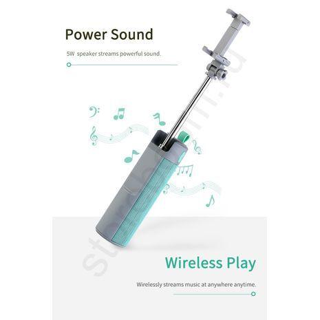 מוט סלפי לסמארטפונים אנדרואיד ואייפון + רמקול סוללת גיבוי + דיבורית