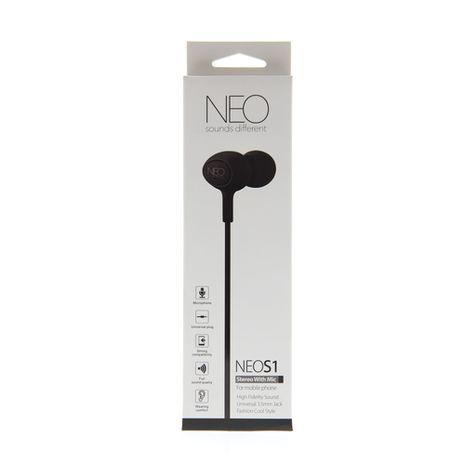 אוזניות  לטלפונים סולולריים כולל מיקרופון מובנה NEO S1 In-Ear