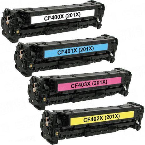 סט  טונרים לייזר  תואמים HP CF401/2/3/0 - 201X CMYK