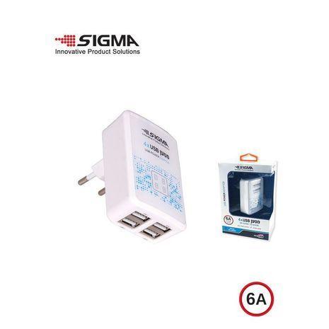 מטען  קיר USB ,  ל4 כניסות  - מנגנון נגד טעינה יתר וטעינה מהירה Sigma 6A - 5V