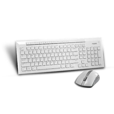 מקלדת+עכבר אלחוטית בצבע לבן מולטימדיה עברית-אנגלית  1200 dpi 2.4 GHz USB2  GPT