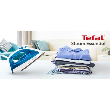 Portable Iron Steam Ceramic Steam Essential 1200W Tefal Steam Essential  FV1026
