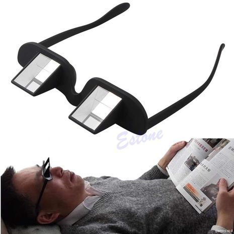 """""""Points for the lazy."""" Prismatic glasses for comfortable reading and watching TV lying"""
