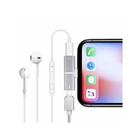 2 in 1 Audio Charging Dual Adapter Splitter For iPhone . For Lightning Jack Earphone AUX Cable Connector Converter