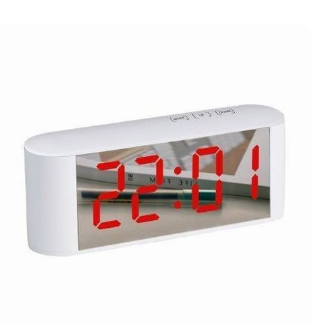 Digital Alarm Clock Compact with AC and USB Mirror Display NY-8972