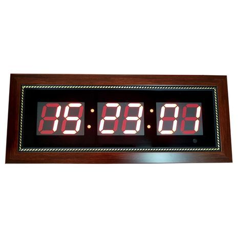 Large digital electric clock hour + seconds wooden decorative frame 53X22 sm