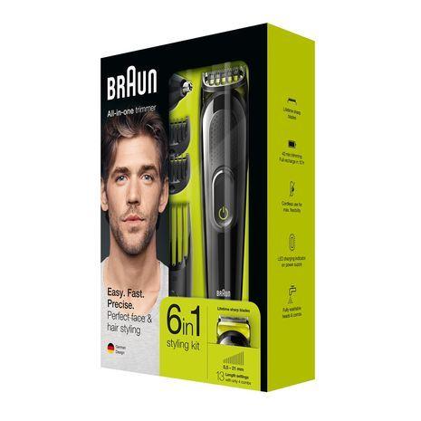 6 ב1 מחשיר טיפוח שער  גופ  , זקן , ושפם Braun MGK3021