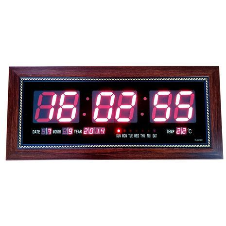 Large digital wall clock with date and temperature gauge in wooden frame 53X22 sm