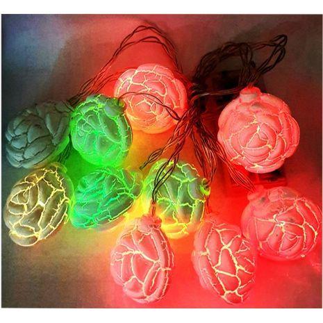 Светодиодная разноцветная гирлянда с автономным питанием 10 элементов 2 метра