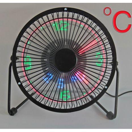 """Desk fan with clock and temperature, USB, metal , quiet 6"""" 25 W LED FEN F206-C CLOCK"""