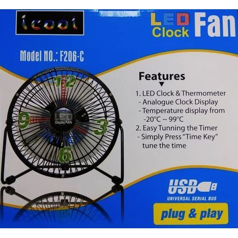 "Desk fan with clock and temperature, USB, metal , quiet 6"" 25 W LED FEN F206-C CLOCK"