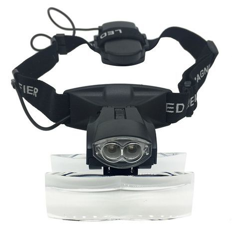 Magnifying glass, magnifier - glasses + 5 pairs of interchangeable glasses on an elastic band around the head