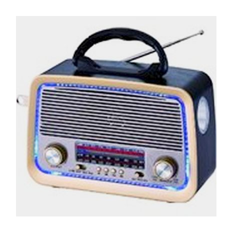 Transistor receiver with USB-input, memory card, MP3, Bluetooth. Powered by electricity, internal batteries and conventional batteries SKL-3099